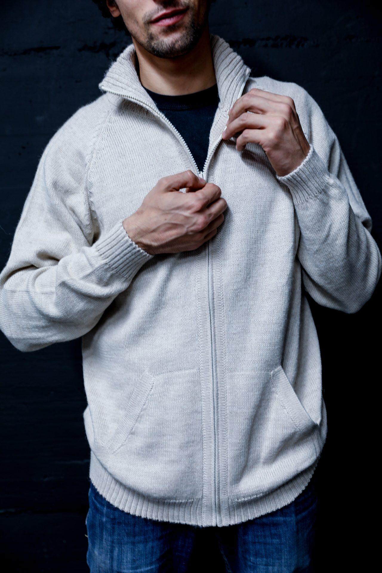 men alpaca zip sweater