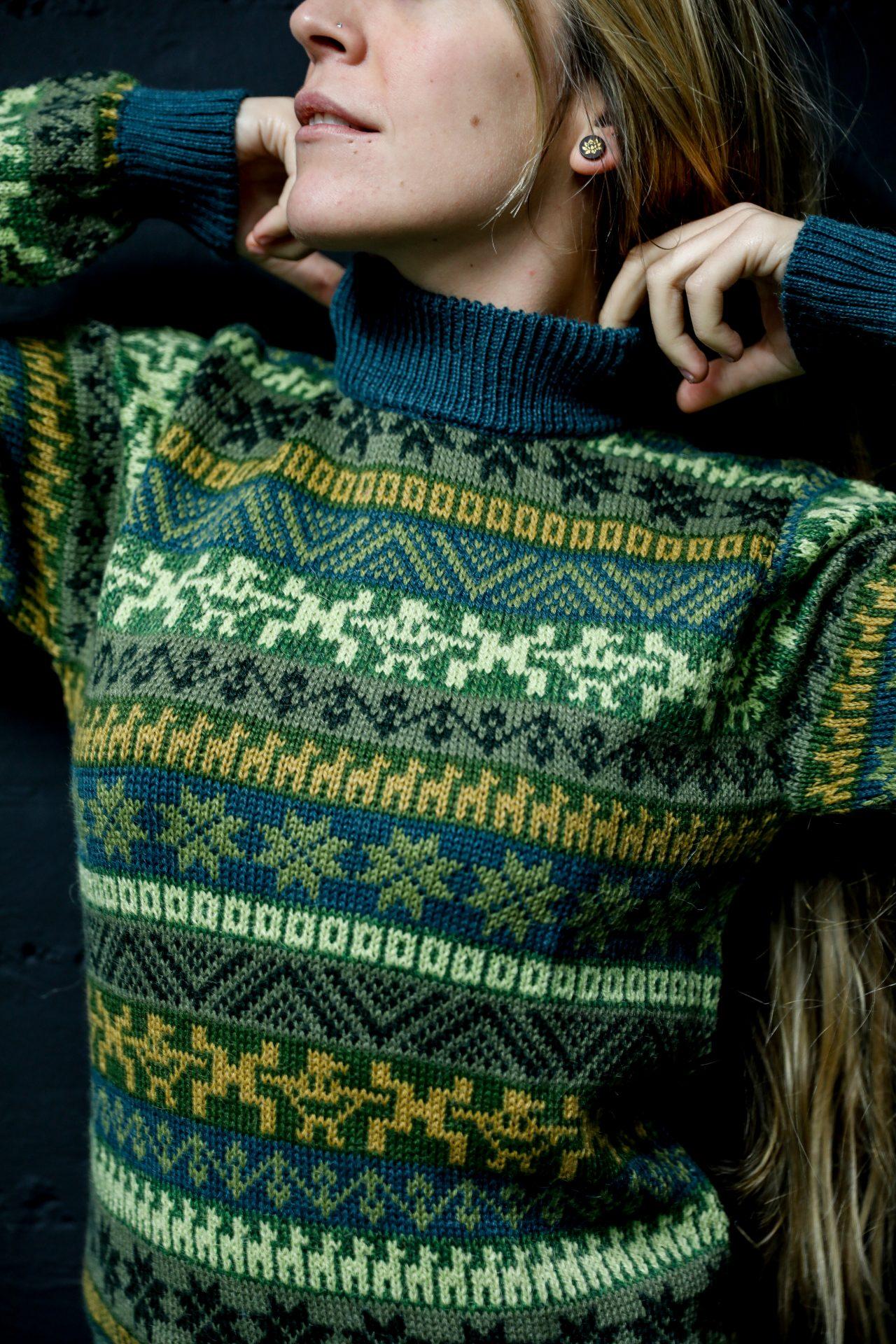 high collar alpaca sweater women